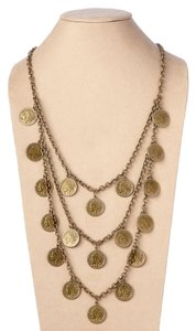 Theodora & Callum New Authentic Brass St. Tropez Triple Strand Coin Necklace