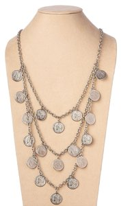 Theodora & Callum Silver Dominique Triple Strand Coin Necklace