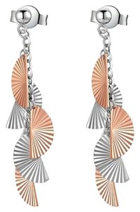 MBLife NEW 14K/585 RED WHITE COLOR GOLD GOLD EARRINGS - DANGLING FANS