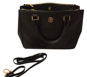 Tory Burch Robinson Leather Tote in Black