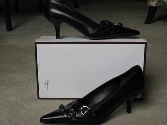 Coach Leather Pointed Toe Black Pumps