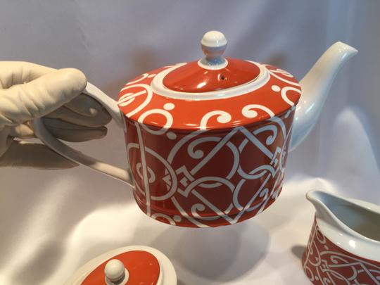 Nobel Excellence Pathway Persimmon Tea Pot & Lid, Creamer & Sugar Bowl and Lid by Nobel Excellence - [ Roxanne Anjou Closet ]