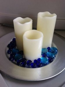 Blue Cobalt and Turquoise Glass Rocks - 10 Lbs. Centerpiece