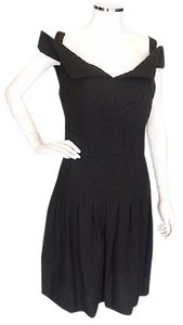 Chanel short dress Black Cotton Pleated Off The on Tradesy