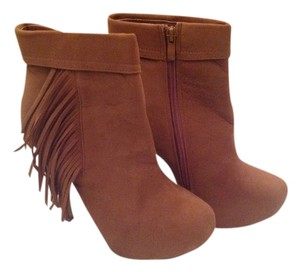 Delicacy Bootie Boot Fringe Hem Tan Boots