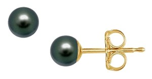 LoveBrightJewelry Freshwater Cultured Pearl Stud Earrings 14K Yellow Gold 4 MM