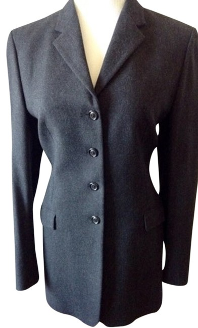 Preload https://item5.tradesy.com/images/piazza-sempione-charcoal-gray-wool-cashmere-riding-jacket-blazer-size-10-m-1627609-0-0.jpg?width=400&height=650