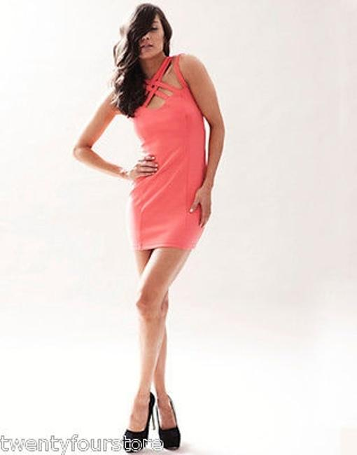 Keepsake the Label Last Kiss In Coral W Strappy Neckline Dress Image 2
