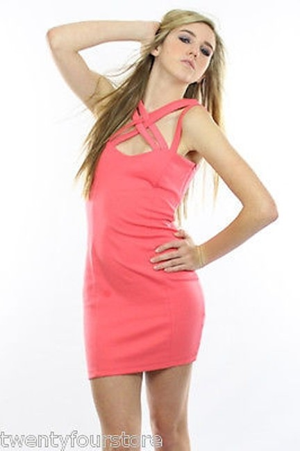 Keepsake the Label Last Kiss In Coral W Strappy Neckline Dress Image 0