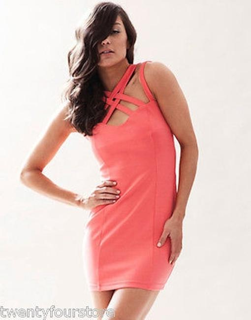 Keepsake the Label Last Kiss In Coral W Strappy Neckline Dress Image 1