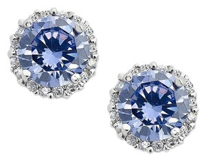 B. Brilliant B. Brilliant Sterling Silver Earrings, Purple and Clear Cubic Zirconia Round Pave Stud Earrings (3/4 ct. t.w.)