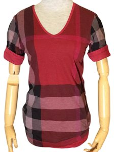 Burberry T Shirt Red and Plaid