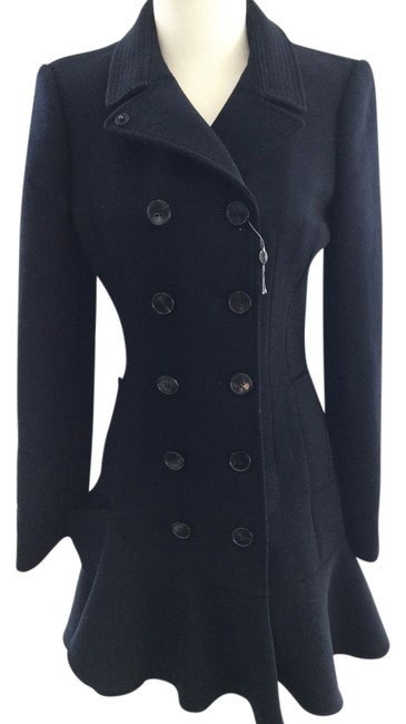 Item - Navy Double Breasted Ruffle Wool Coat Size 4 (S)