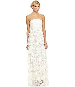 Sue Wong Light Ivory Lace N2153 Scalloped Layer Vintage Wedding Dress Size 12 (L)