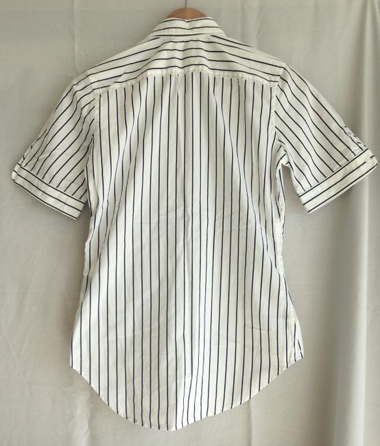 Ralph Lauren Button Down Shirt White Navy Pin Stripe