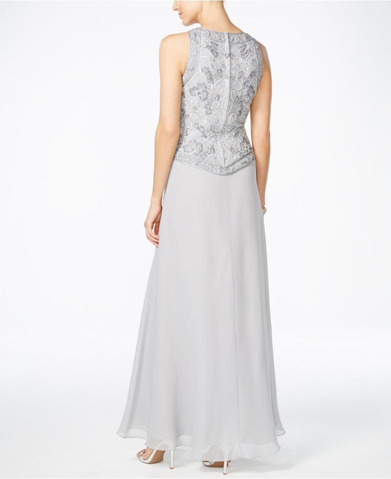 JKara Hand-beaded Silver Chiffon Evening Gown Long Formal Dress Size ...
