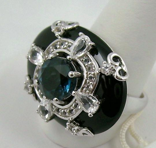 Carlo Viani Carlo Viani Black Agate and Blue Topaz Sterling Silver East/West Ring - Size 8 Image 1