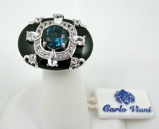 Carlo Viani Carlo Viani Black Agate and Blue Topaz Sterling Silver East/West Ring - Size 8 Image 10