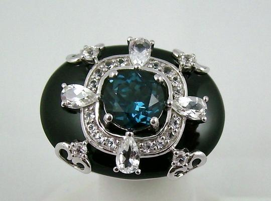 Carlo Viani Carlo Viani Black Agate and Blue Topaz Sterling Silver East/West Ring - Size 8 Image 8