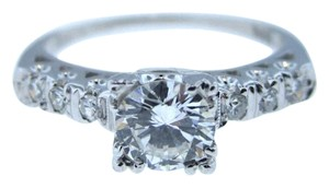 Antique Art Deco 14k White Gold .63CTW E-F VS2 Diamond Engagement Ring Vintage