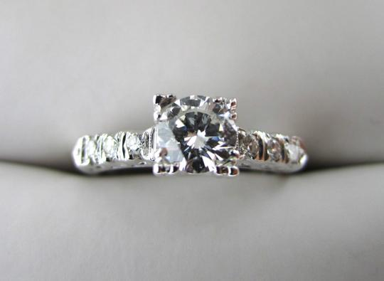 Other Antique Art Deco 14k White Gold .63CTW E-F VS2 Diamond Engagement Ring Vintage Image 1