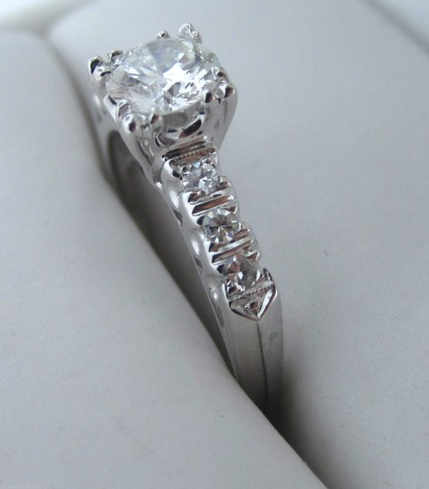 Other Antique Art Deco 14k White Gold .63CTW E-F VS2 Diamond Engagement Ring Vintage Image 3