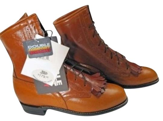 Justin Boots Western Made In America Leather Kiltie Accent Whiskey Calfskin Boots