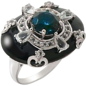 Carlo Viani Carlo Viani Black Agate and Blue Topaz Sterling Silver East/West Ring - Size 7