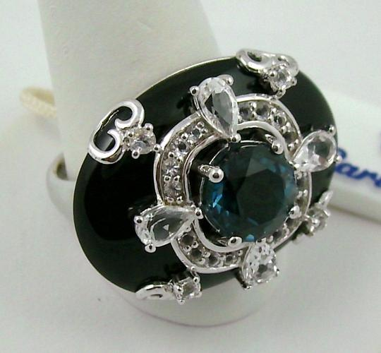Carlo Viani Carlo Viani Black Agate and Blue Topaz Sterling Silver East/West Ring - Size 7 Image 4
