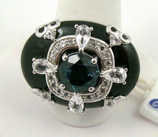 Carlo Viani Carlo Viani Black Agate and Blue Topaz Sterling Silver East/West Ring - Size 7 Image 6