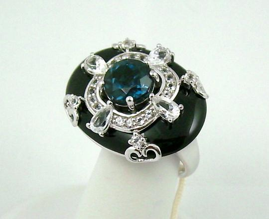 Carlo Viani Carlo Viani Black Agate and Blue Topaz Sterling Silver East/West Ring - Size 7 Image 7