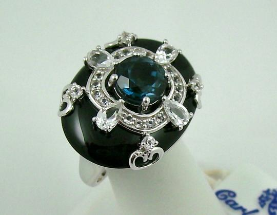 Carlo Viani Carlo Viani Black Agate and Blue Topaz Sterling Silver East/West Ring - Size 7 Image 8