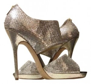Jimmy Choo Mettalic Booties Classics Wedding Leather Champagne Glitter Pumps