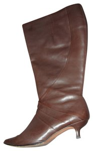Fitzwell Kitten Heel Wide Calf Tall Brown Boots
