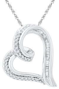 Other LADIES 0.16 CTTW DIAMOND 10k WHITE GOLD FASHION HEART PENDANT