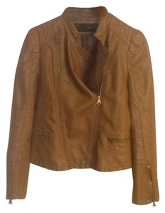 Amie Basic Lambskin Leather Motorcycle Brown Leather Jacket