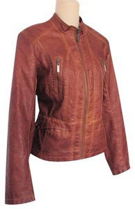 Bernardo Sz M Faux Leather Zip Up Coat Brown Leather Jacket