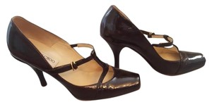 Jimmy Choo Patent Leather. Mary Jane Brown Pumps