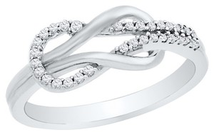 Other 10k WHITE GOLD LADIES 0.16 CTTW DIAMOND ETERNITY KNOT FASHION RING