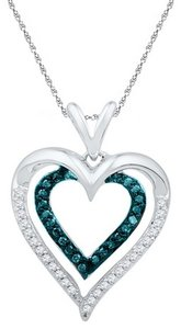 10K WHITE GOLD 0.25 CTTW BLUE DIAMOND HEART FASHION PENDANT