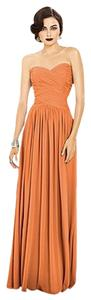Dessy Full Length Orange Chiffon Dress