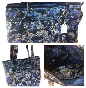 Vera Bradley Tote in Navy and Brown Paisley