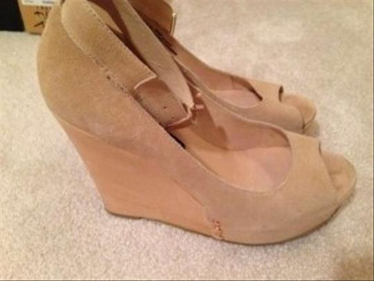 Chinese Laundry Split Suede Gold Hardware Sand Wedges