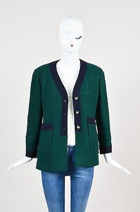 Chanel Chanel Boutique Forest Green Navy Boucle Knit Embellished Button Blazer Jacket