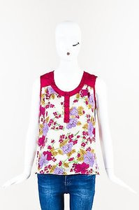 Etro Beige Hot Pink Lavender Top Multi-Color