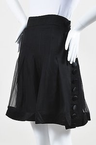 Etro Silk Satin Chiffon Skirt Black