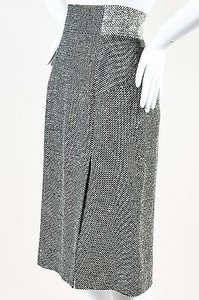 VIKTOR & ROLF Black White Blend Tweed Notched Waist Skirt Gray