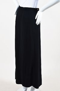 Chanel Boutique Wool Front Slit Maxi Skirt Black