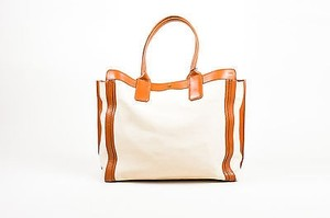 Chloé Chloe Tan Leather Alyson Shopping Tote in Cream