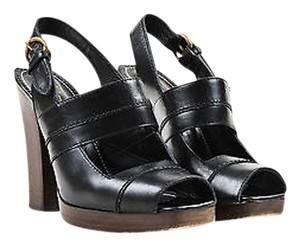 Saint Laurent Yves Leather Open Toe Heels Black Sandals
